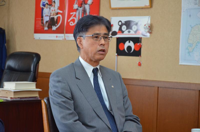 日本赤十字社 熊本県支部 事務局長の三角様に被災地の現状を説明していただきました。